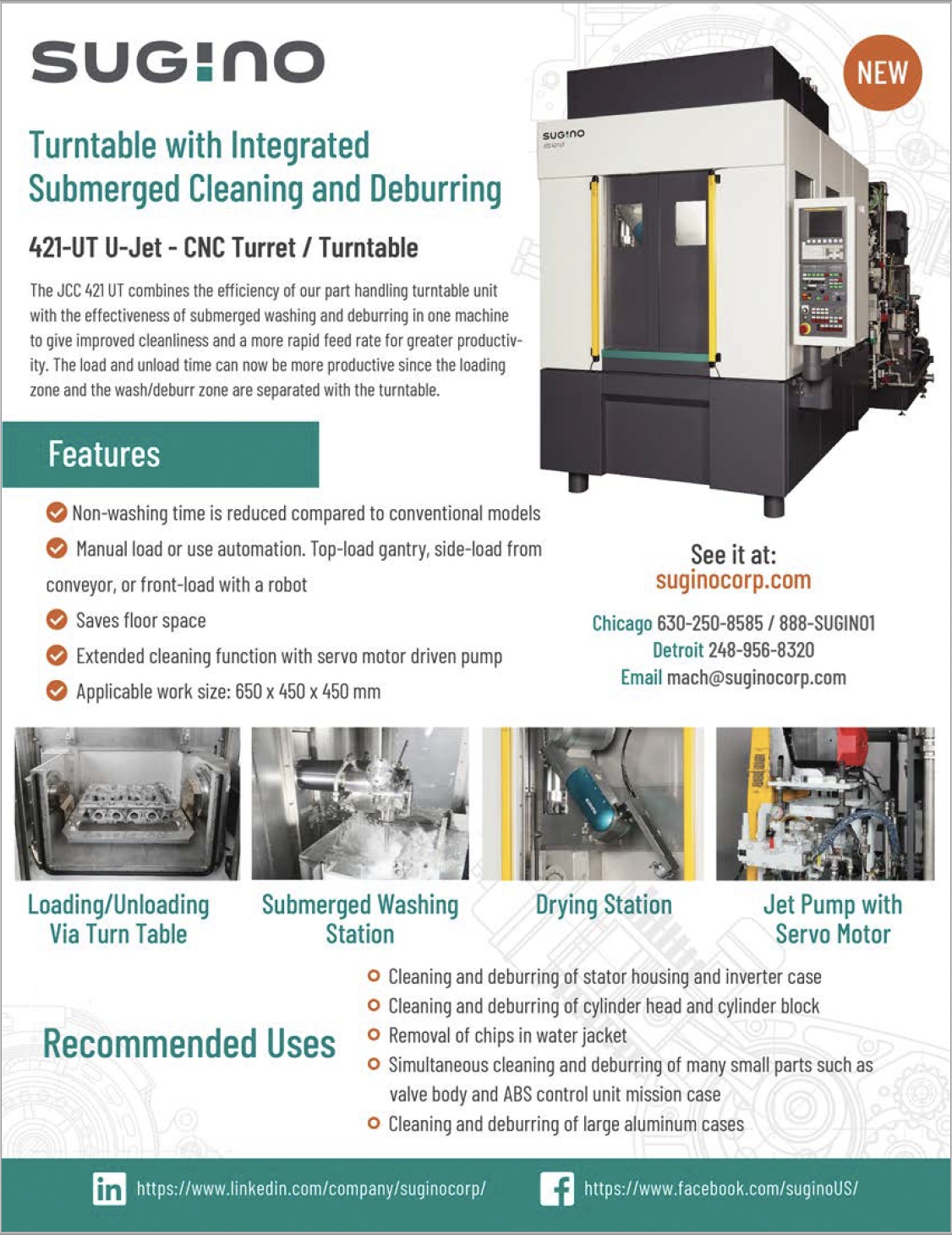 Sugino JCC 421-UT Submerged Cleaning Deburring